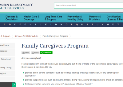 Wisconsin Department of Health Services Family Caregivers Program