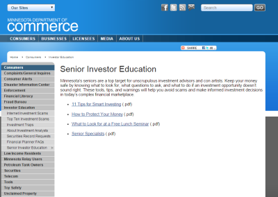 MINNESOTA: Senior Investor Education