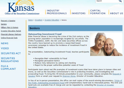 KANSAS: Outsmarting Investment Fraud
