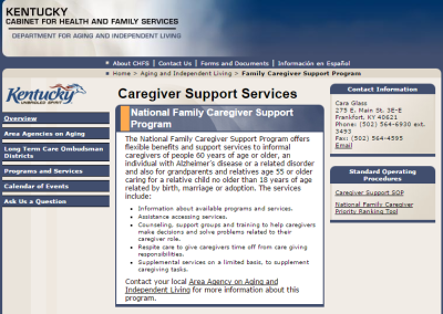 Kentucky Department for Aging and Independent Living Caregiver Support Services