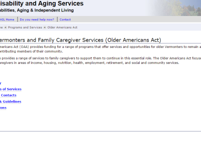Vermont Division of Disability & Aging Services Older Vermonters and Family Caregiver Services
