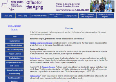 New York State Office for the Aging Caregiver Resources